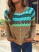 Ethnic Print Long Sleeve Vintage Cardigan Coat