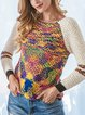 Apricot Shift Ombre/tie-Dye Casual Sweater