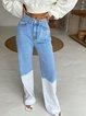 2020 new women's AliExpress Ebay hot sale tie-dye stitching high waist slim and high street denim wide leg pants
