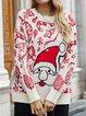 Apricot Shift Cotton-Blend Christmas Snowman Long Sleeve Sweater