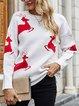 Cotton-Blend Christmas Snowman Long Sleeve Casual Sweater