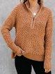 Khaki Zipper Stand Collar Casual Sweatshirt