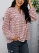 White Cotton-Blend Long Sleeve V Neck Shirts & Tops