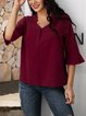 Claret 3/4 Sleeve Casual V Neck Shirts & Tops