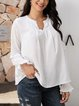 White Plain Long Sleeve Paneled Shirts & Tops