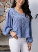Blue Crew Neck Cotton-Blend Long Sleeve Paneled Shirts & Tops