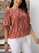 Red Floral Short Sleeve Paneled Cotton-Blend Shirts & Tops