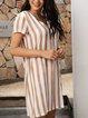 Apricot Short Sleeve Striped V Neck Dresses