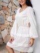 White Long Sleeve Tribal Paneled Cotton-Blend Dresses