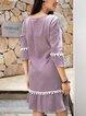 Purple A-Line Ruffled V Neck 3/4 Sleeve Dresses