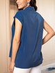 Blue Casual Paneled Shirts & Tops