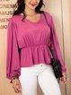 Pink Cotton-Blend Plain Holiday Crew Neck Shirts & Tops
