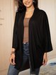 Black Casual Paneled Cotton-Blend Outerwear