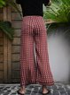 Coffee Cotton-Blend Geometric Printed Casual Pants