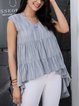 Gray Paneled Cotton-Blend Plain Casual Shirts & Tops