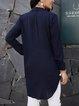 Blue Shawl Collar Cotton-Blend Long Sleeve Shirts & Tops