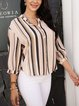 White Striped Cotton-Blend Paneled Casual Shirts & Tops