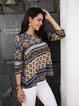 Blue Cotton-Blend Half Sleeve Paneled Tribal Shirts & Tops