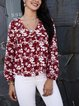 Red Paneled Floral Cotton-Blend Long Sleeve Shirts & Tops