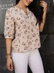 Apricot Paneled Casual Floral Shirts & Tops