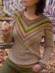 Khaki Long Sleeve Crew Neck Color-Block Sweater