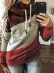 Red Long Sleeve Plaid Cotton Hoodie Sweatshirt