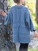 Blue V Neck Plain Long Sleeve Sweater
