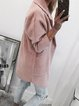 Pink Buttoned Long Sleeve Turn-Down Collar Outerwear