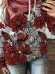 Red Patchwork Printed Long Sleeve Sweatshirt