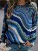 Vintage Geometric Printed Plus Size Long Sleeve Crew Neck Casual Tops