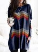 Vintage Multicolor Plus Size Long Sleeve Crew Neck Statement Geometric Printed Casual Tops