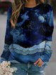 Vintage Multicolor Plus Size Long Sleeve Crew Neck Statement Moon Night Printed Casual Tops