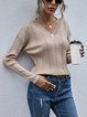 Solid Color Twist V-neck Knitted Sweater