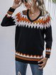 Loose Color Contrast V-Neck Pullover Sweater