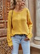 Loose Casual Pullover Solid Color Twist Knit Long Sweater