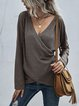 V-neck Knitted Long Sleeve Blouse Tops
