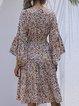 Round Neck Long Sleeve Chiffon Floral Dress