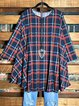 Plaid Print Navy Blue Round Neck Loose Long Tunic Tops