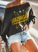 Ladies loose casual BAZINGA printed sweatshirt