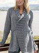 Gray V Neck Casual Long Sleeve Sweater
