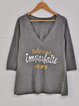 Gray Long Sleeve V Neck Letter Shift Shirts & Tops