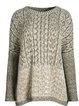 Gray Long Sleeve Crew Neck Plain Sweater