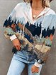 Lady's Mountain Print Casual Hoodie