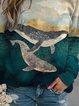 Ladies Mountain Whale Print Crew Neck Casual Sweatshirt