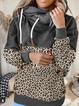 Deep Gray Hoodie Printed Long Sleeve Cotton-Blend Sweatshirt