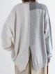 Beige Color-Block Long Sleeve Sweatshirt