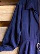 Blue Casual Shirt Collar Cotton-Blend Shirts & Tops