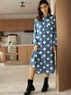 Blue Shawl Collar Cotton-Blend Casual Long Sleeve Dresses