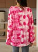 Pink Long Sleeve Cotton-Blend Ombre/tie-Dye V Neck Shirts & Tops