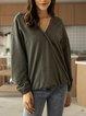 Green Paneled Plain V Neck Long Sleeve Shirts & Tops